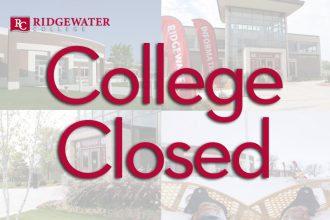 College Closed graphic. Red lettering with 4 images of Willmar and Hutchinson campuses in different seasons in the background.